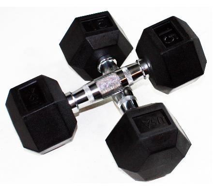 Troy Fitness Rubber Hex Dumbbells